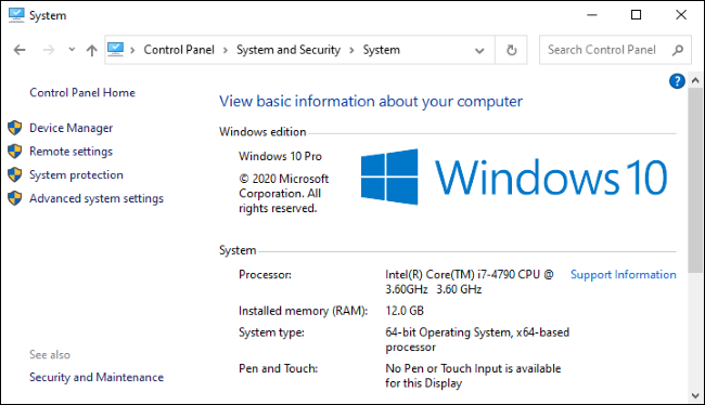 Ekran System w Panelu sterowania systemu Windows 10.