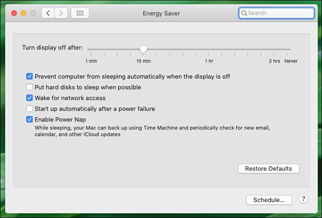 Preferencje systemowe Mac Panel preferencji oszczędzania energii