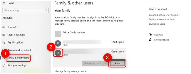 Windows 10 Zezwalaj na użytkownika dziecięcego