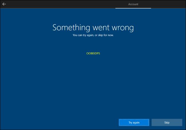 Skipping Windows 10's Microsoft account creation.