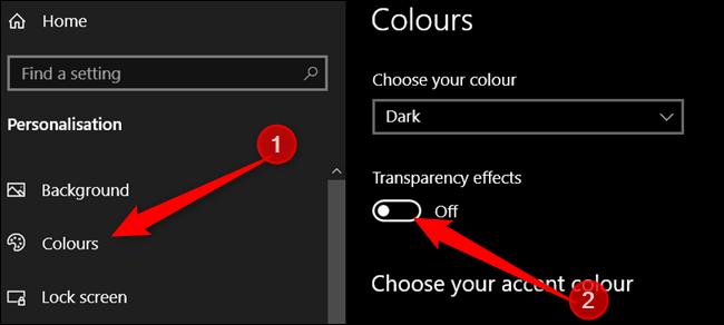 Cliquez sur Couleurs dans le volet gauche, puis désactivez les effets de transparence.