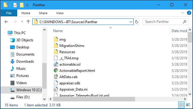 Windows 10 setup error message log Panther folder