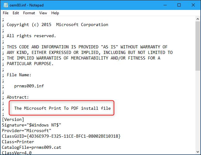 The Microsoft Print To PDF INF file