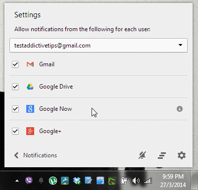 Disable Google Now for Chrome