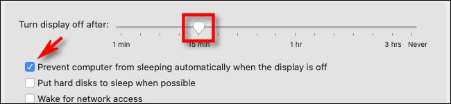 W Preferencjach oszczędzania energii na Macu ustaw czas uśpienia wyświetlacza za pomocą suwaka, a następnie zaznacz pole poniżej.