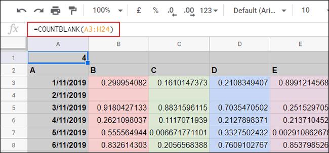 Функция СЧИТАТЬПУСТОТЫ, используемая для подсчета пустых ячеек в Google Таблицах.