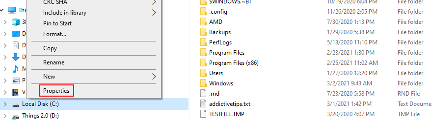 Windows Explorer shows how to access the Properties of the C: drive