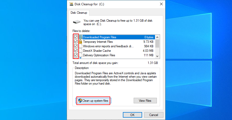 Windows 10 shows how to select files for Disk Cleanup