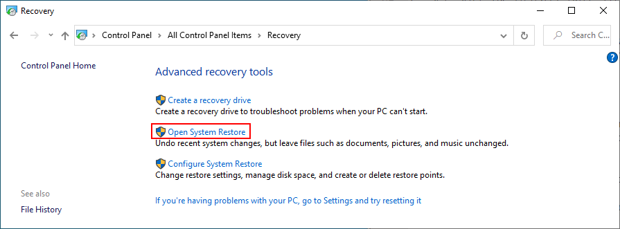 Windows 10 shows how to open System Restore