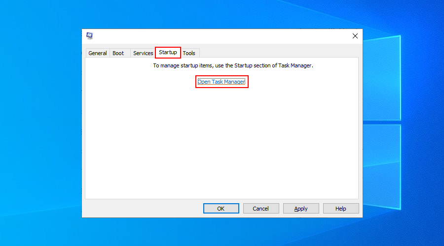 Windows 10 shows how to open Task Manager from the System Configuration app