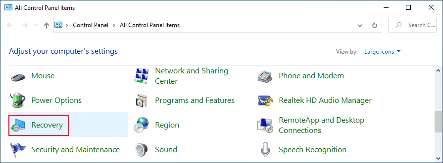 Windows 10 shows how to access Recovery from Control Panel