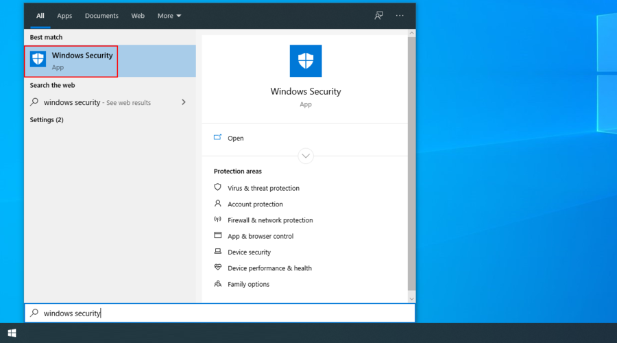 Windows 10 shows how to access the Windows Security app