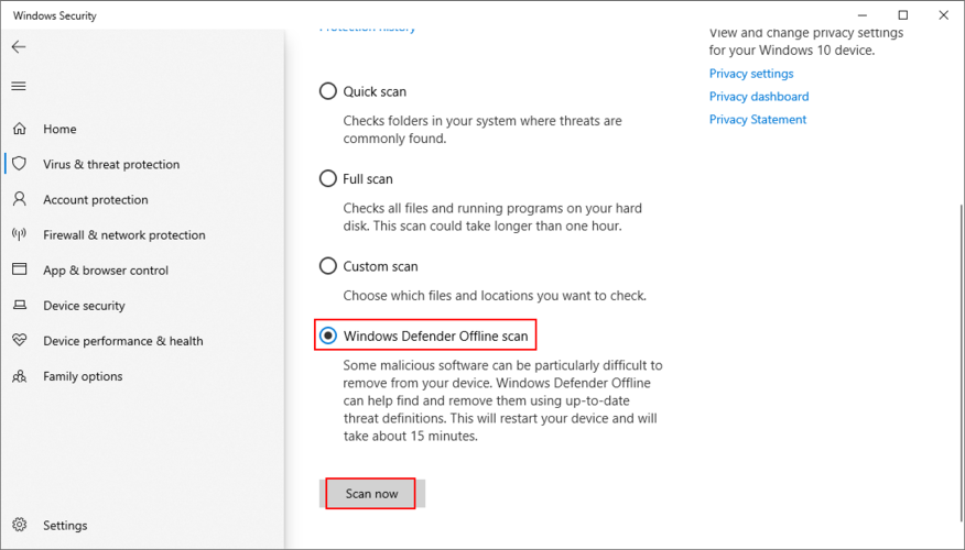 Windows 10 shows how to perform a Windows Defender offline scan