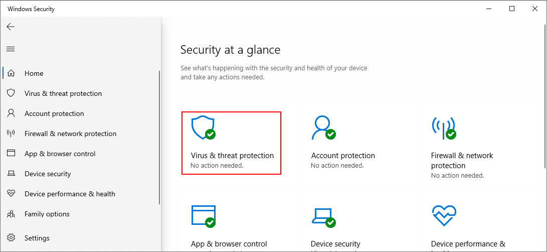 Windows 10 shows how to select Virus and Threat Protection
