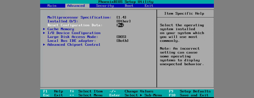 how to reset BIOS configuration data