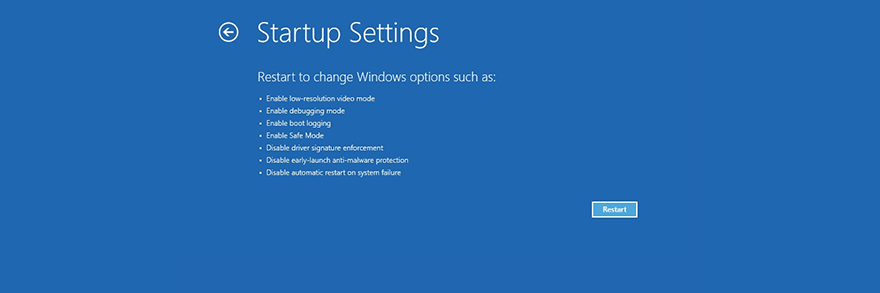 Windows 10 shows the startup settings
