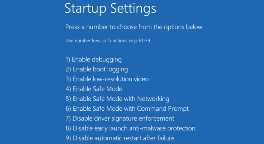 Windows 10 shows more startup settings