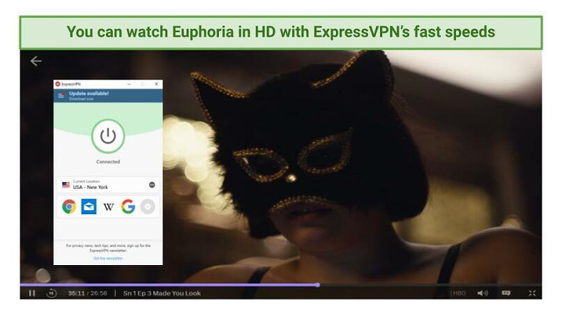 Graphic showing Euphoria streaming using ExpressVPN