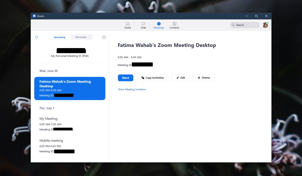 Zoom sur les paramètres de la réunion